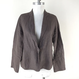 Eileen Fisher M P Brown Linen Jacket Topper